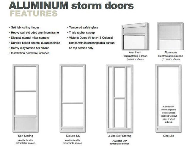 Aluminum storm doors vinyl professionals windows and for Vinyl storm doors